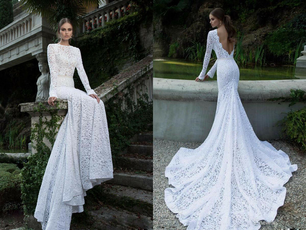 White Ivory Wedding Dresses Bridal Ball Gowns Lace Long