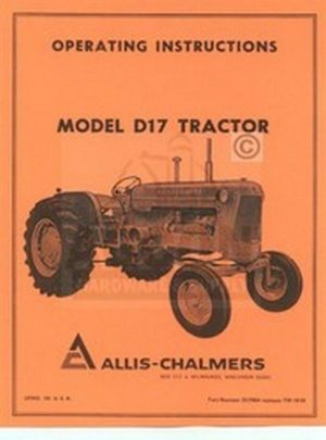 ALLIS CHALMERS D17 D17 Gas Tractor Owners Manual | eBay