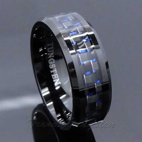 Mens Tungsten Ring With Carbon Fiber 8mm Black And Blue