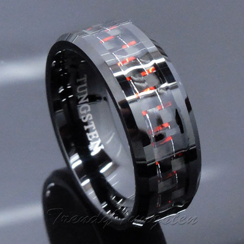 Mens Tungsten Ring With Carbon Fiber 8mm Black And Red