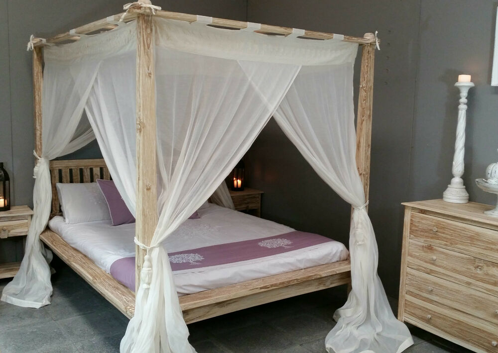 Balinese Rumple Four Poster Bed Canopy Muslin Mosquito Net 185 X 205cm King EBay