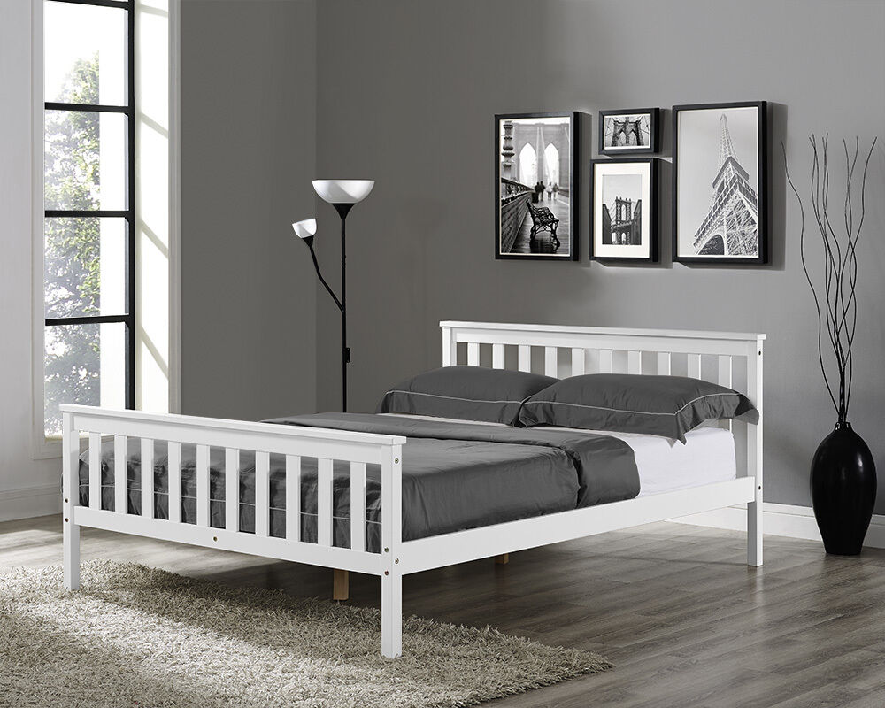 Wooden Bed Frame White Double King Single Size Solid Pine And With Mattress New EBay