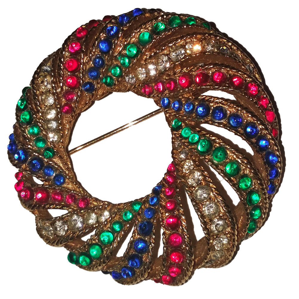 Vintage Boucher Swirl Brooch Pin With Multy Colored Cabochons Amp Rinestones EBay