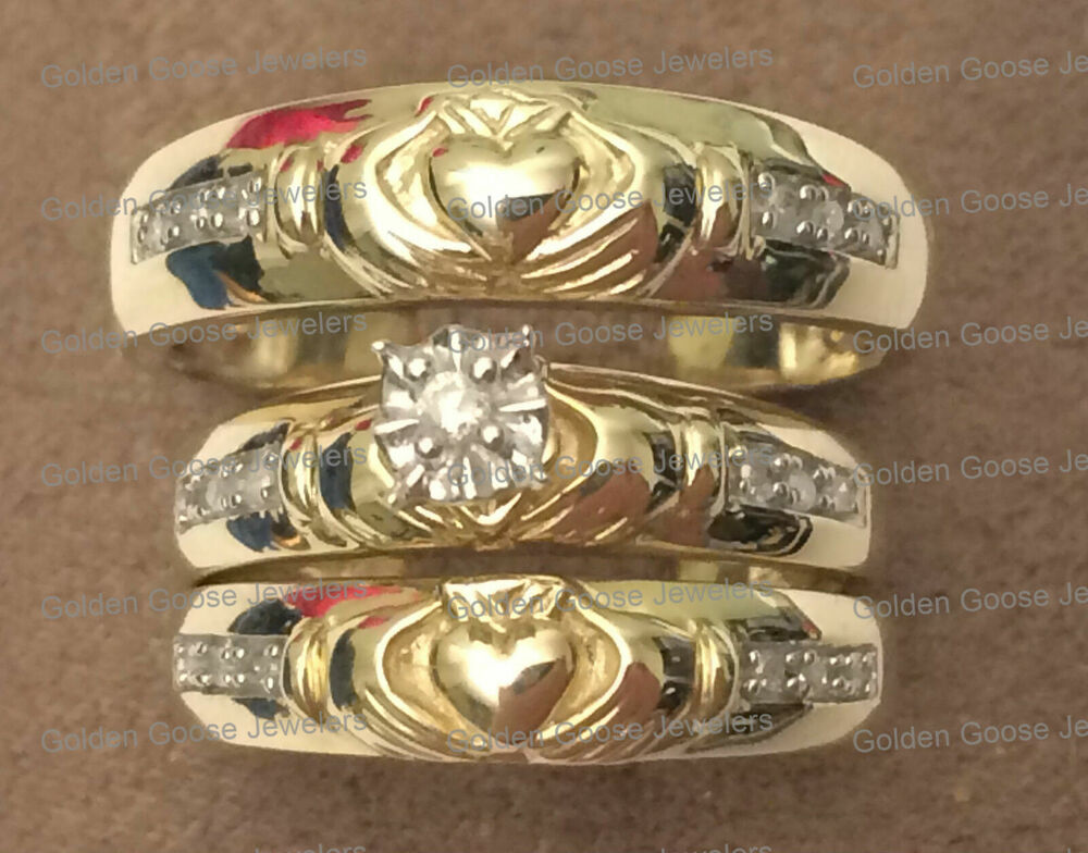 Yellow Gold Diamonds Irish Claddagh Womens Mens His Her