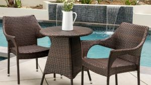 Outdoor Patio 3pc Multibrown All Weather Wicker Bistro Set