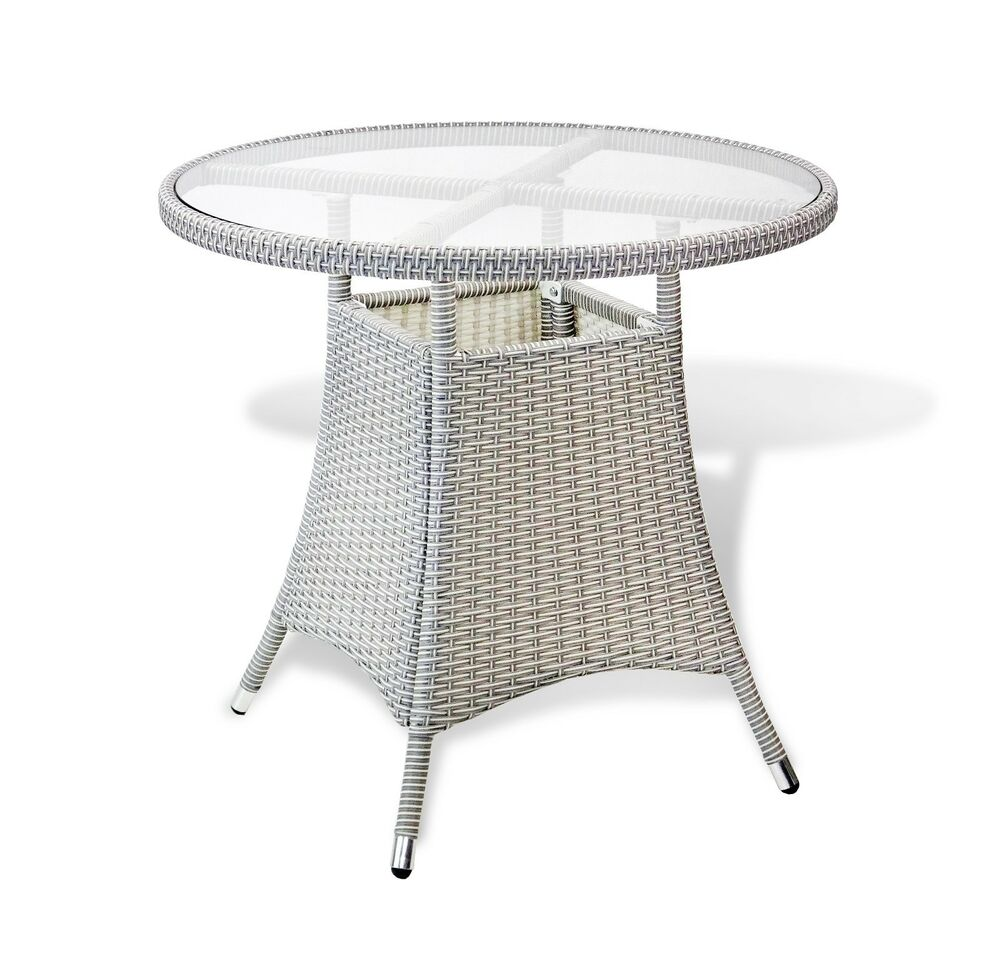 Outdoor Living Resin Wicker Patio Gray Round Dining Table