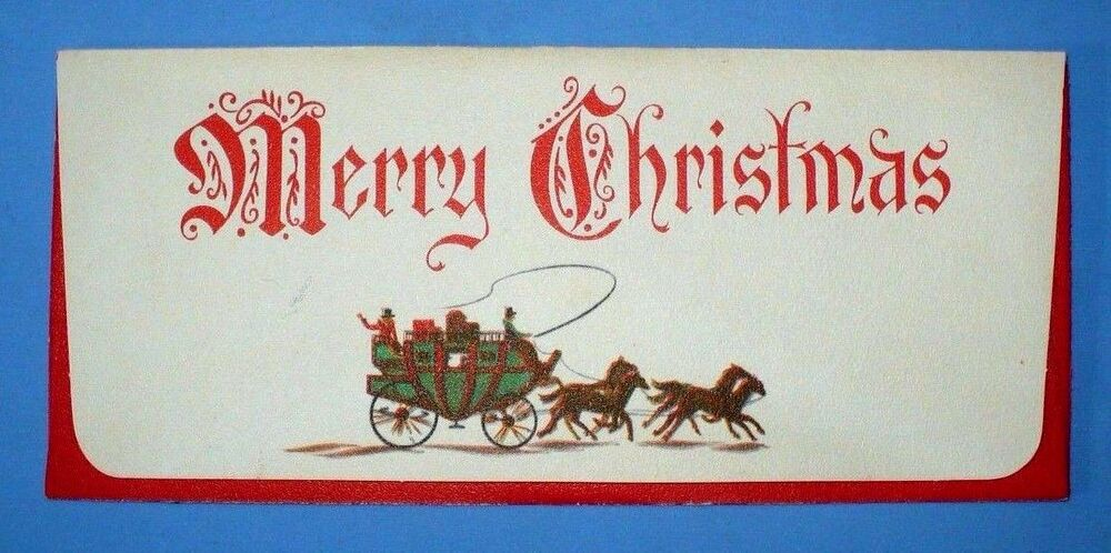 VINTAGE CHRISTMAS MERRY CHRISTMAS STAGECOACH HORSES
