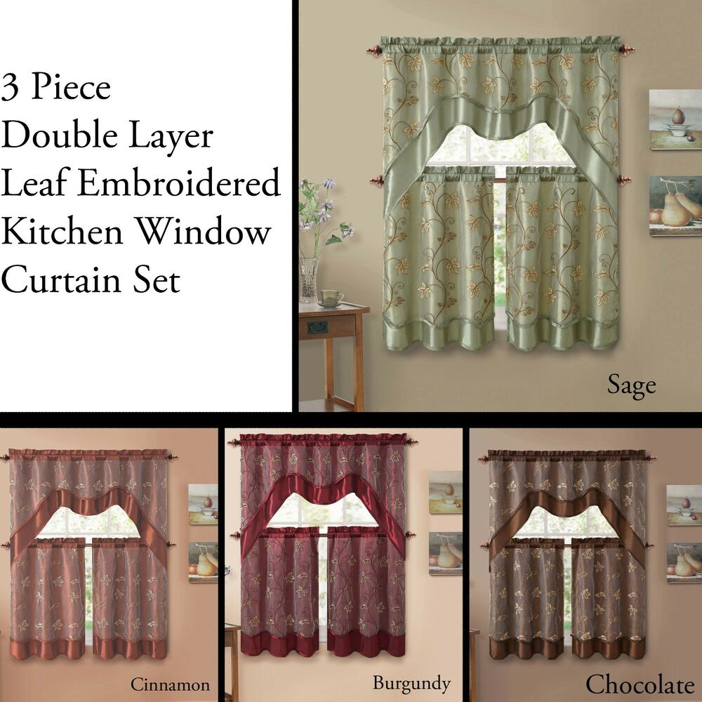 3 Piece Double Layer Leaf Embroidered Kitchen Window Curtain Set With Valance EBay