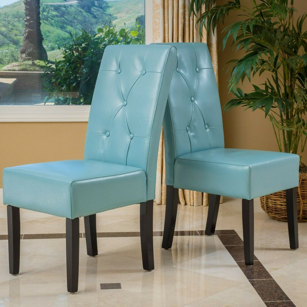 Leather Armless Accent Chairs