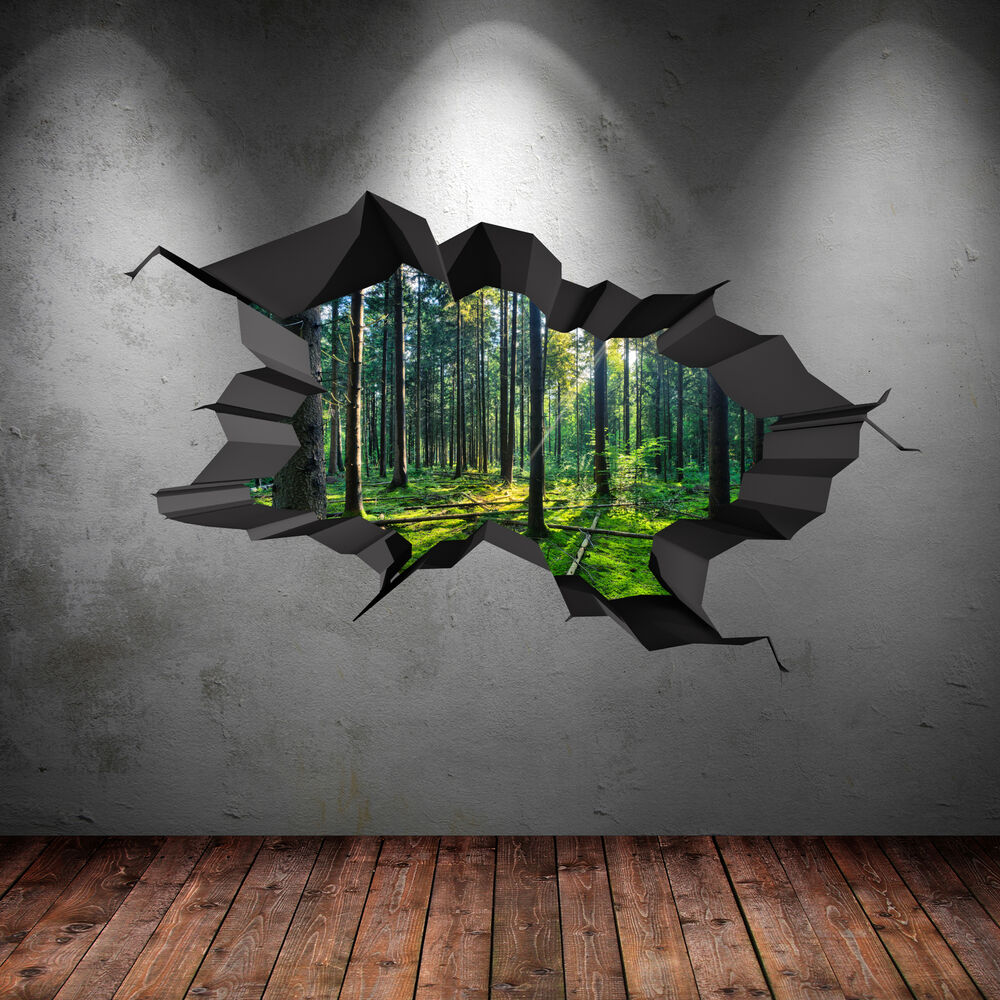 FULL COLOUR WOODS FOREST TREES JUNGLE CRACKED 3D WALL ART STICKER