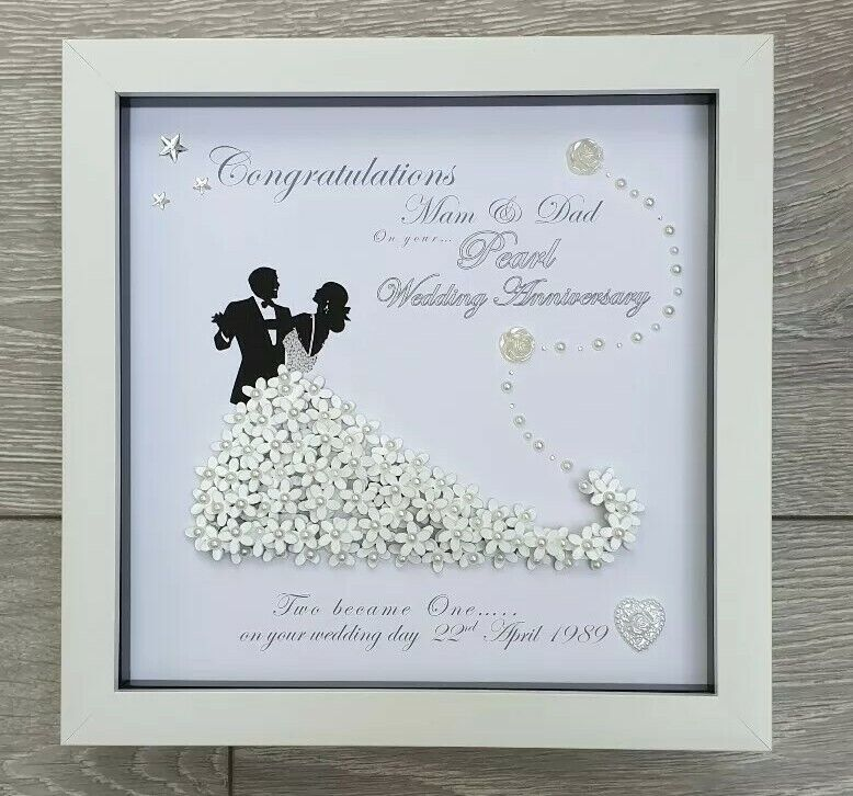 PERSONALISED DEEP BOX FRAME 3D GOLDEN SILVER WEDDING