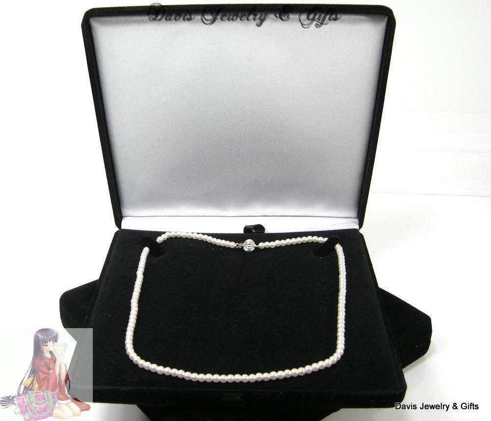 New Black Velvet Jewelry Store Style XL Necklace Pearl