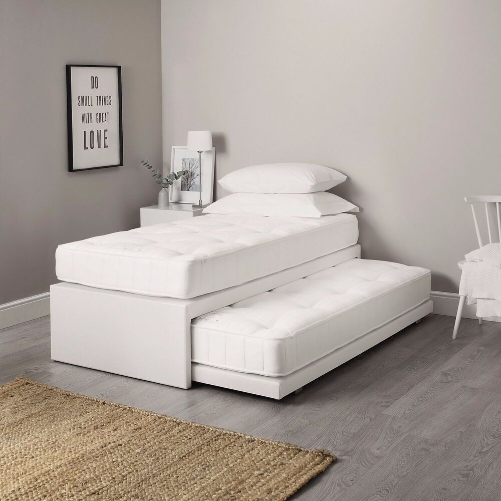 3FT SINGLE LEATHER GUEST BED 3 IN 1 WITH MATTRESS PULLOUT