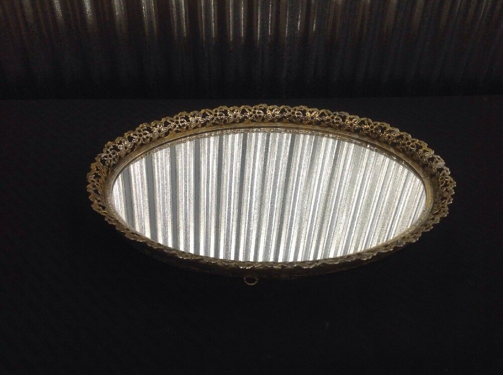 Vintage Oval Mirror Vanity Tray With Gold Tone Filigree