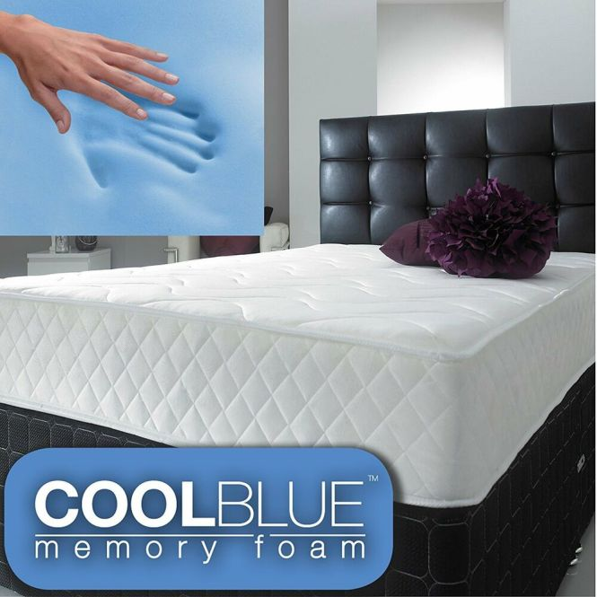 Cool Blue Memory Foam Mattress Spring 3ft Single 4ft6 Double 5ft King 6ft S