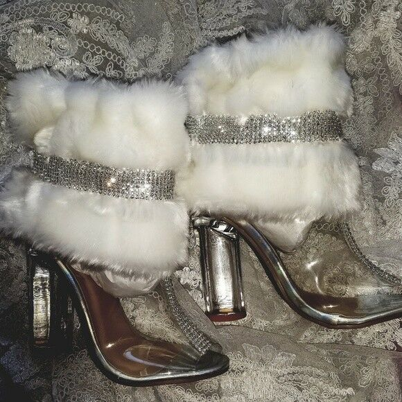 Ice Princess White Faux Mink Silver Crystal Clear Bridal Wedding Ankle Booties | eBay