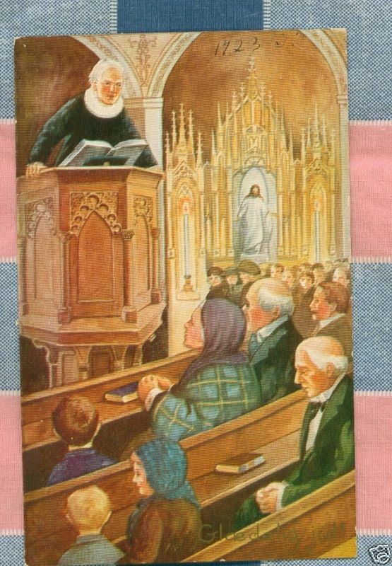 Old Postcard 1923 Church Interior Pulpit Pews People Ebay