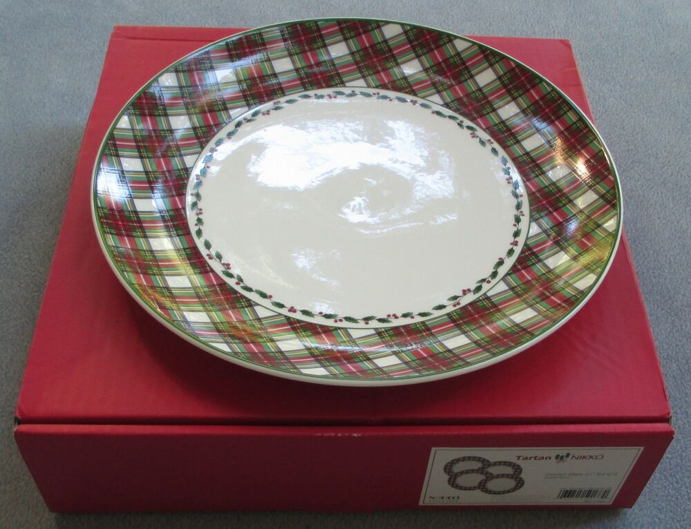 FOUR Nikko Tartan Christmas Plaid Dinner Plates NIB EBay
