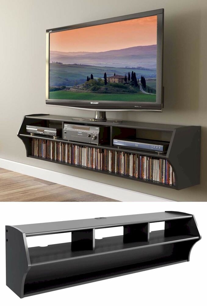 58 Altus Floating Wall Mounted Console LCDLED TV Stand WAV Shelves NEW EBay