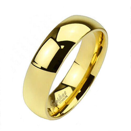 Solid Titanium Mens Gold 4mm 6mm Or 8mm Plain Band Ring