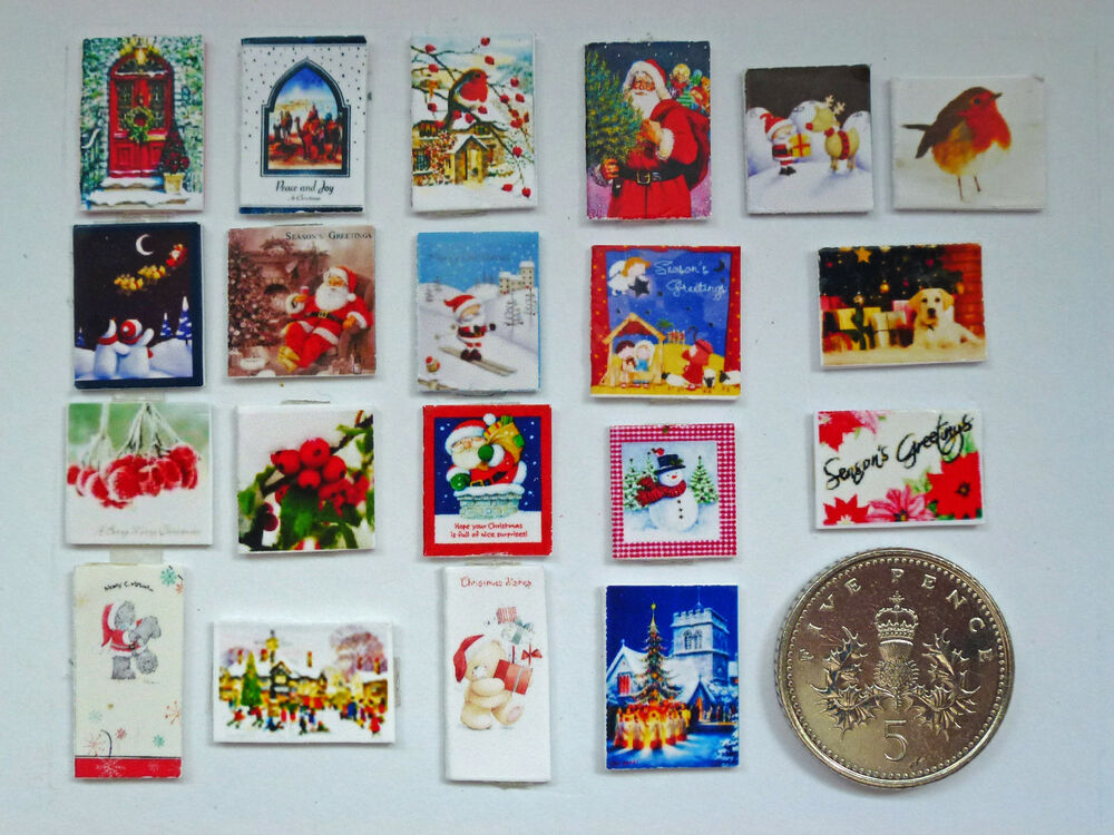 20 MINIATURE CHRISTMAS CARDS For Your DOLLS HOUSE At XMAS