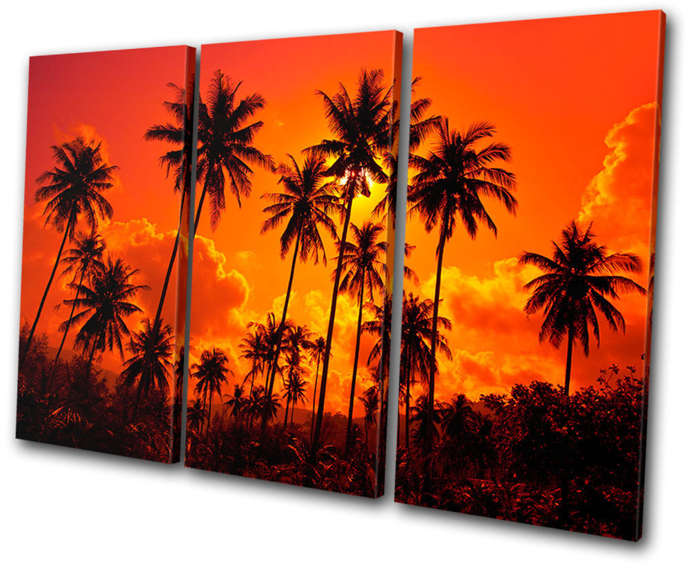 Sunset Seascape Palm Trees TREBLE CANVAS WALL ART Picture