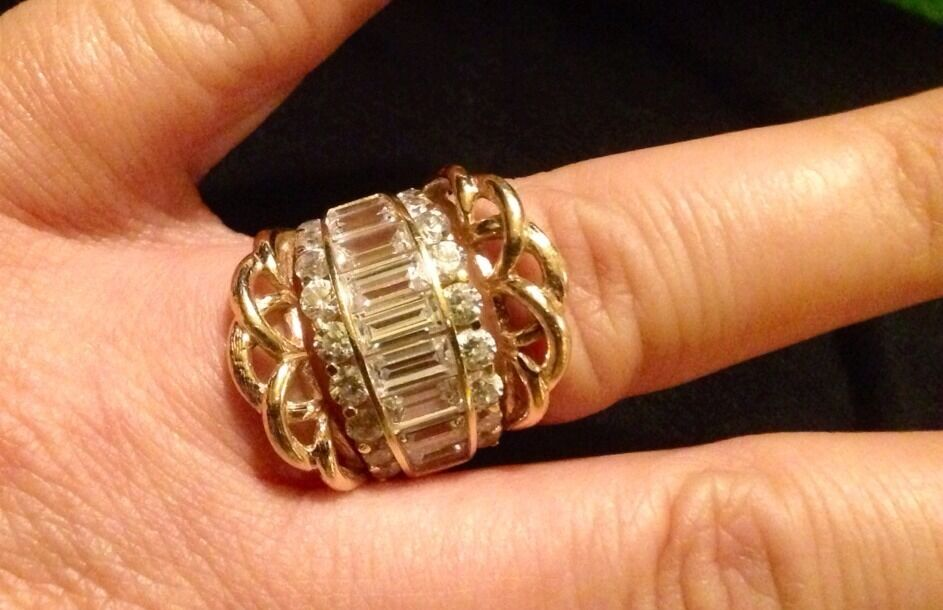 Huge Solid 14k Cigar Band Cz Baguette Engagement Set 3