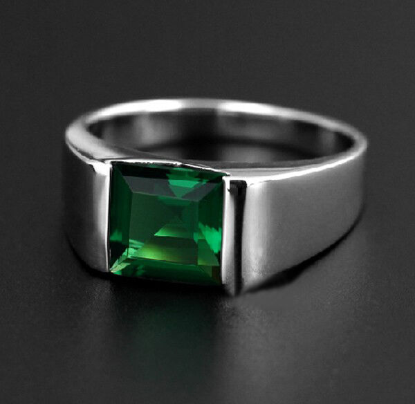 Size 8 12 NICE Mens Jewelry Silver Square Green Emerald
