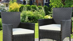 GOPLUS 2PC Chairs Outdoor Patio Rattan Wicker Dining Arm