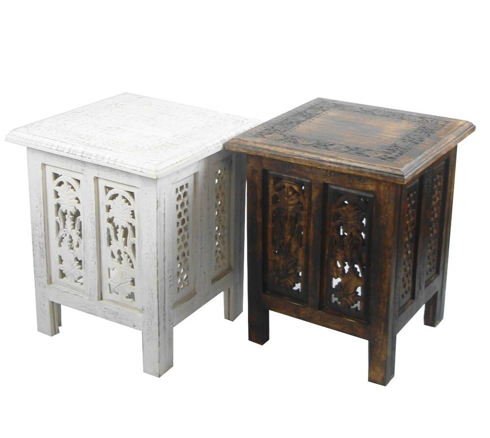Wooden Tables End Carved Hand