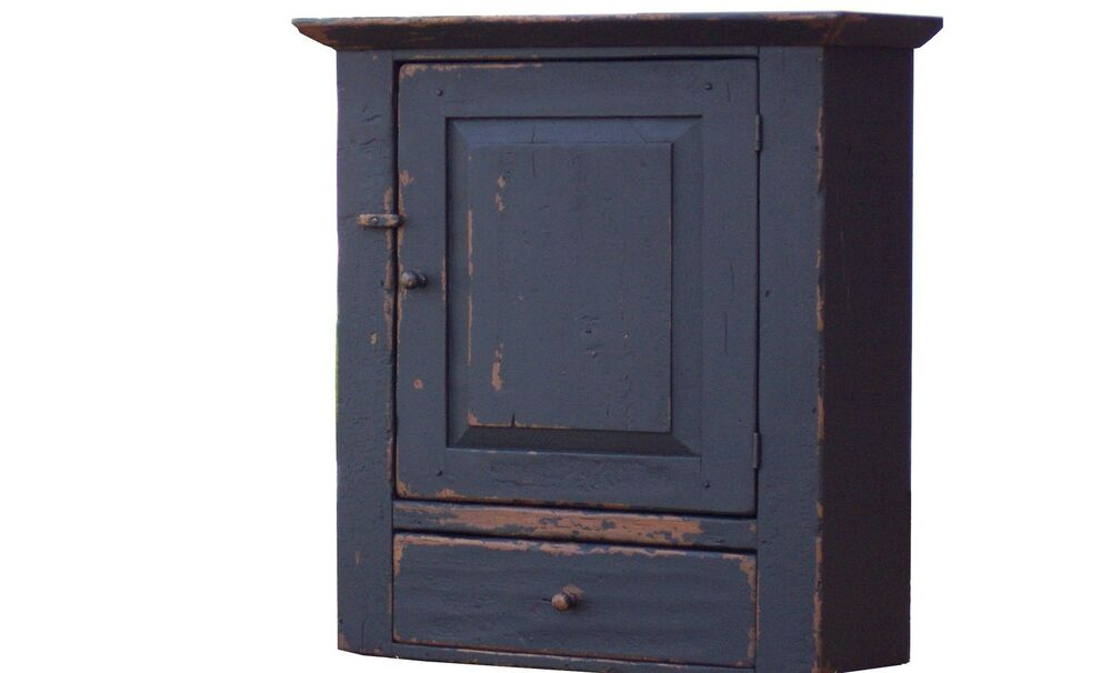 Painted Primitive Pine Wall Cupboard Cabinet Country