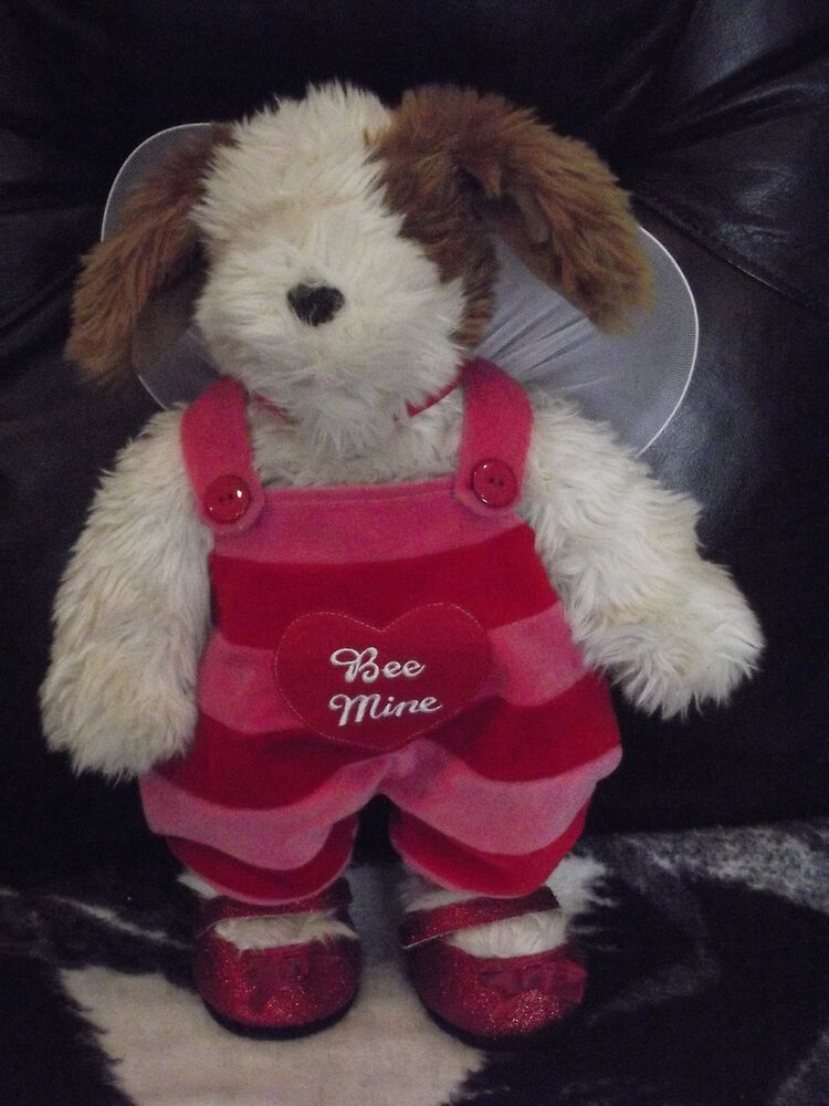 BUILD A BEAR FLUFFY DOG VALENTINES DAY BEE MINE OUTFIT