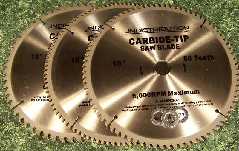 "3pc 10"" CARBIDE TIP SAW BLADE 60 80 100 Tooth NEW Table"