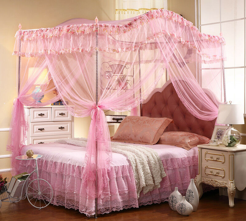 BED CANOPY SET With CANOPY POLERODS FRAME PINK FULL
