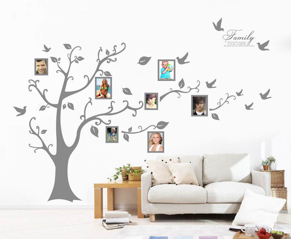 X-Large Family Tree Bird Photo Frame Wall Quote Art Wall