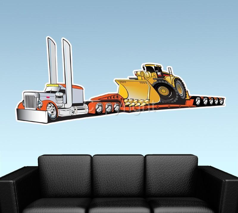 Lowboy Drop Trailer Semi Truck WALL DECAL MURAL PRINT 1035 Peterbilt Big Rig EBay