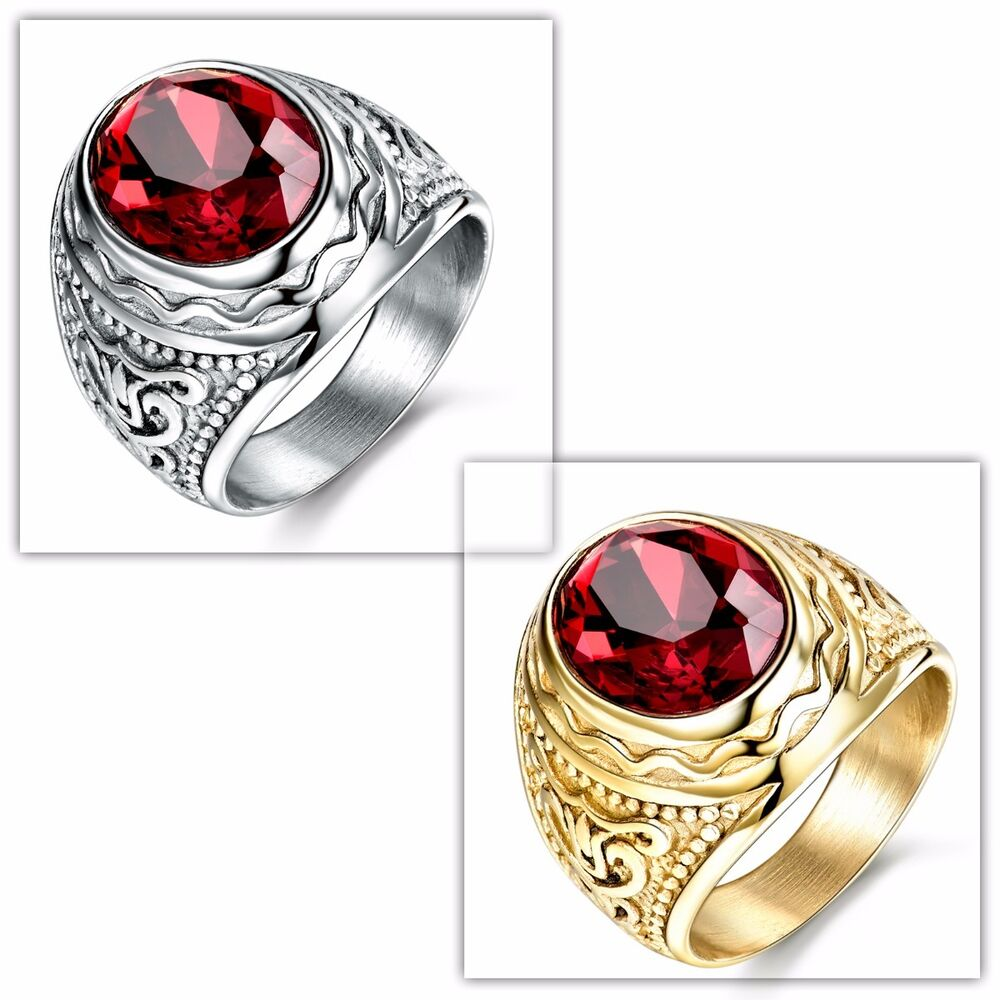 SilverGold Tone Stainless Steel Red Garnet Ring Jewelry