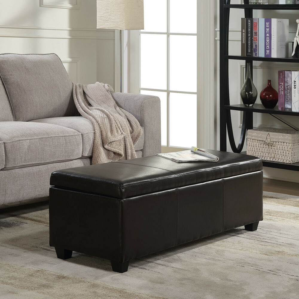 Tufted Leather Large Ottoman