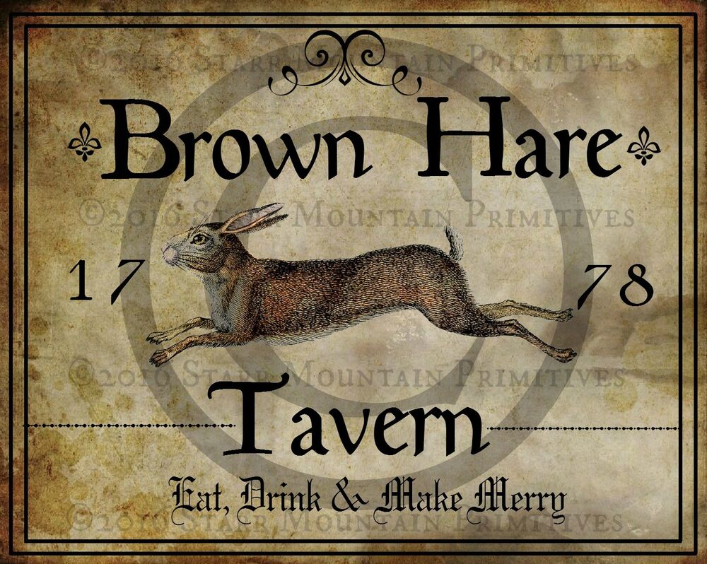 Primitive Colonial Folk Art Brown Rabbit Hare Tavern Sign 1778 Print 8x10 EBay