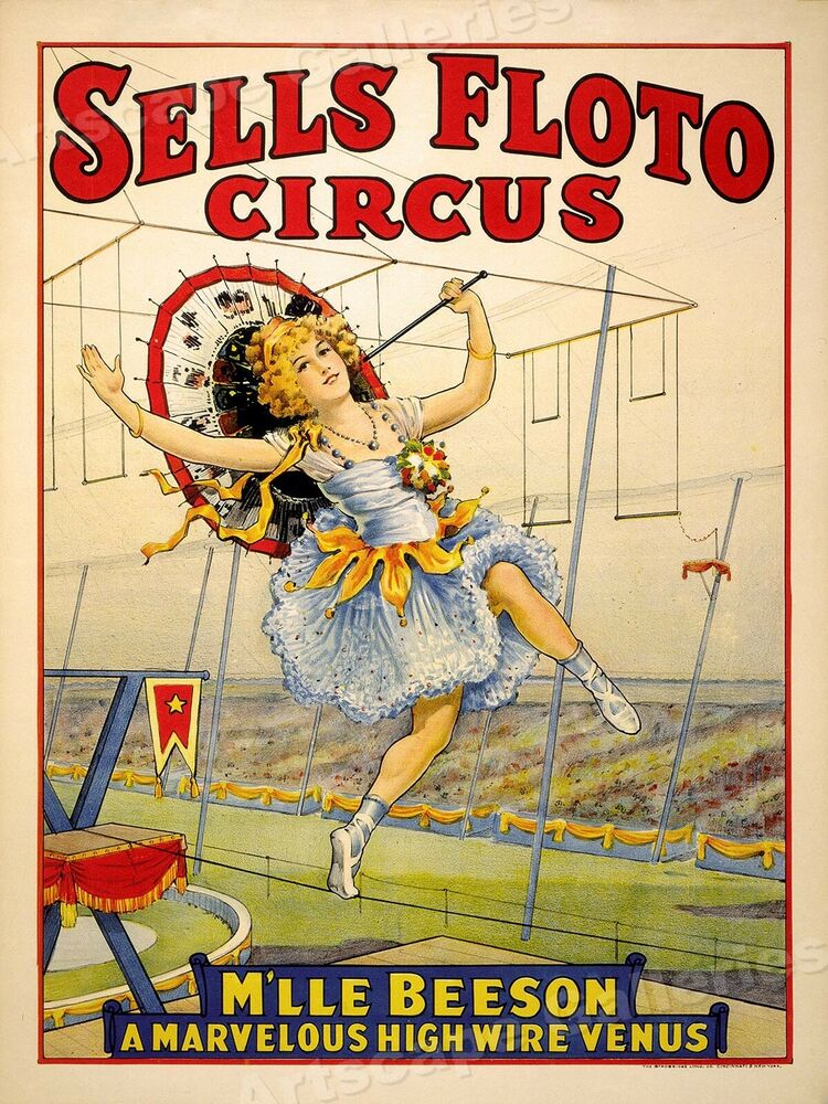 Sells Floto High Wire Act Classic Circus Poster 17x24