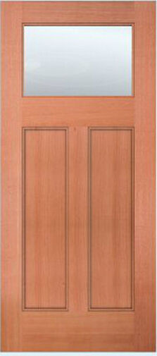Exterior Entry Mahogany Craftsman Flat Panel Solid Stain