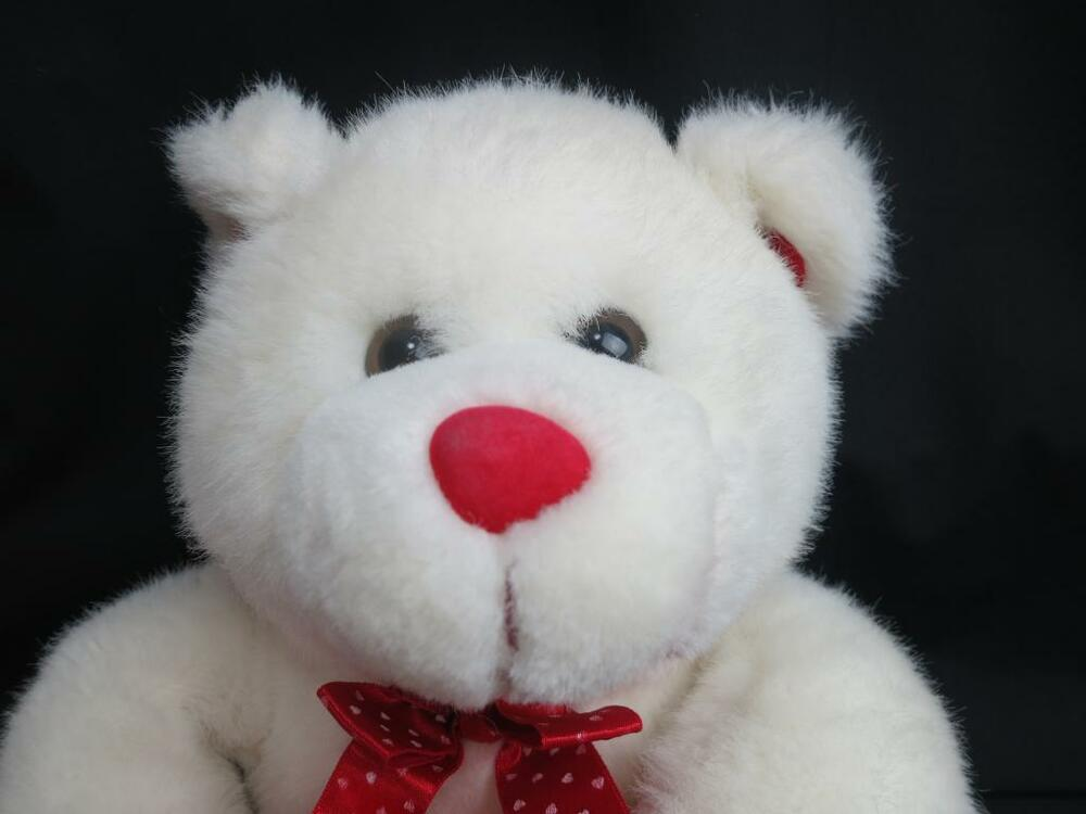BIG WHITE VALENTINES MOTHERS DAY TEDDY BEAR RED HEART