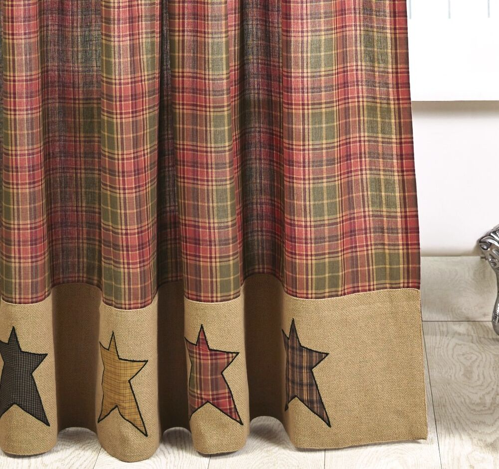 PRIMITIVE BURLAP STAR SHOWER CURTAIN STRATTON CABIN RUSTIC RED TAN BROWN PLAID EBay