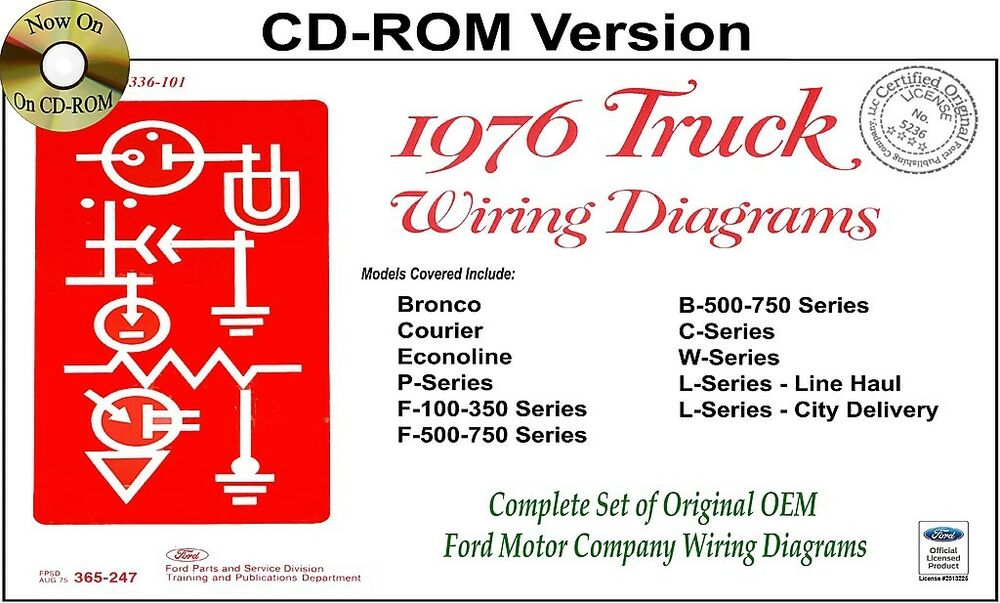 1976 Ford Truck Wiring Diagrams (CD-ROM) Bronco, Courier