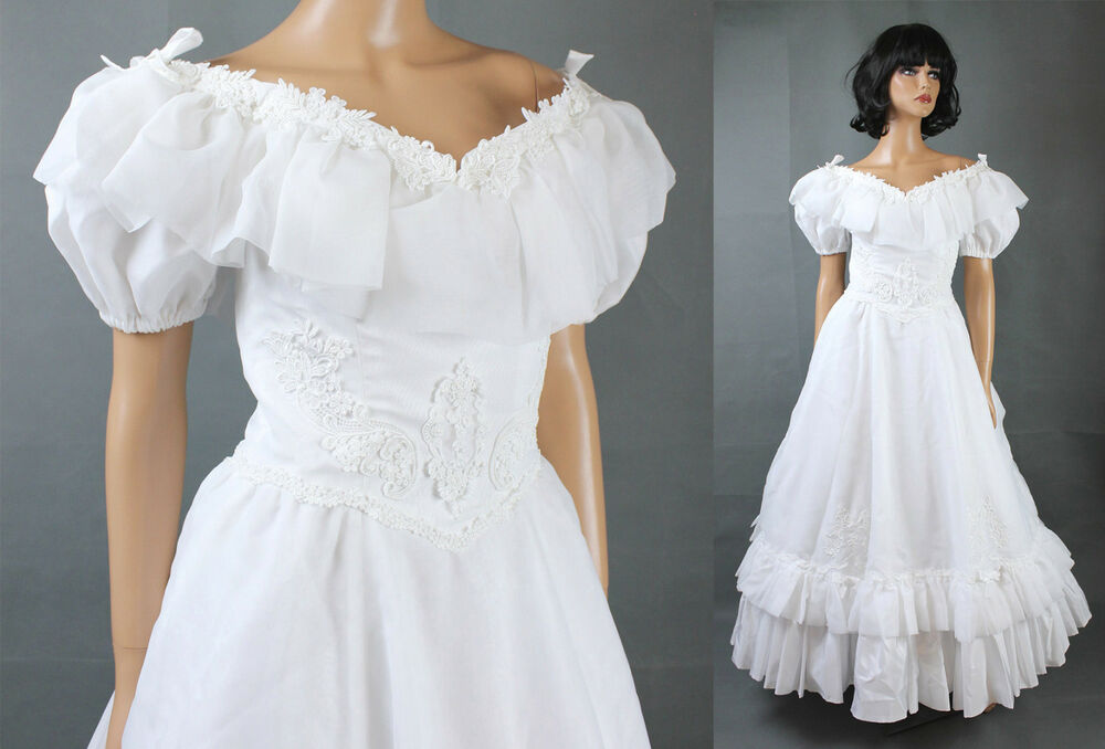 Vintage Wedding Gown XS White Chiffon Short Sleeve