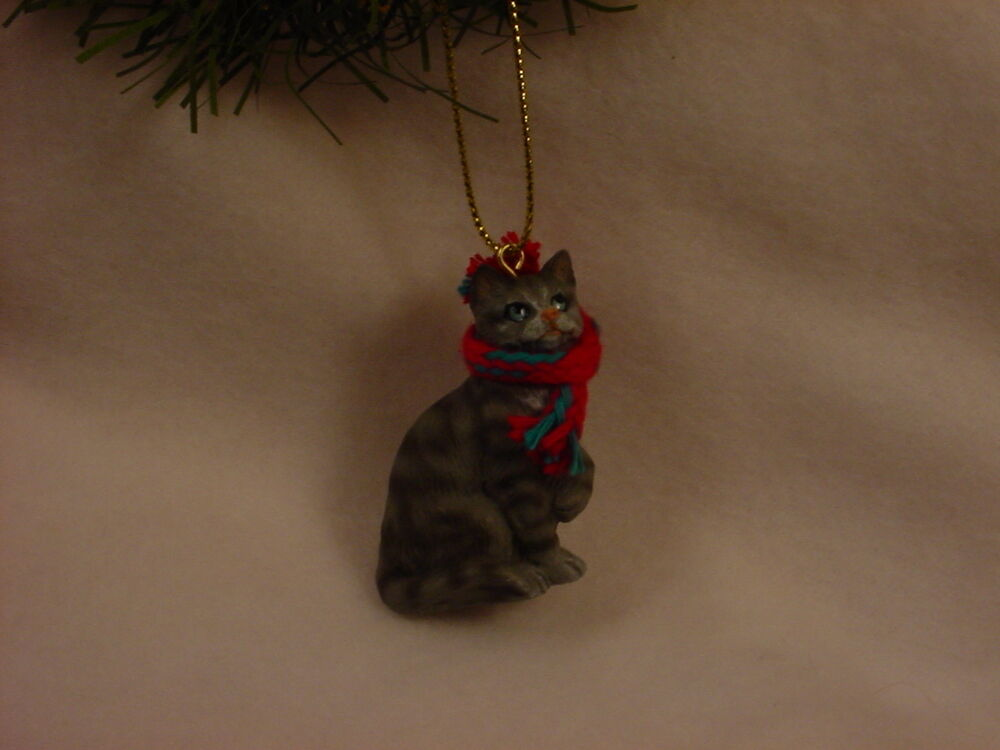 SILVER GRAY TABBY CAT Ornament HANDPAINTED Resin Figurine