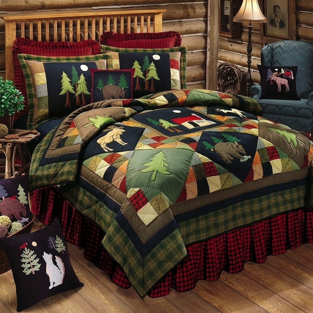 TIMBERLINE King QUILT LODGE MOOSE BEAR CABIN PINE