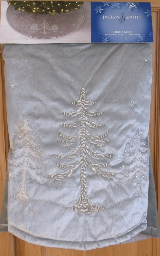 Jaclyn Smith 48 Christmas Tree Skirt Silver Gray With