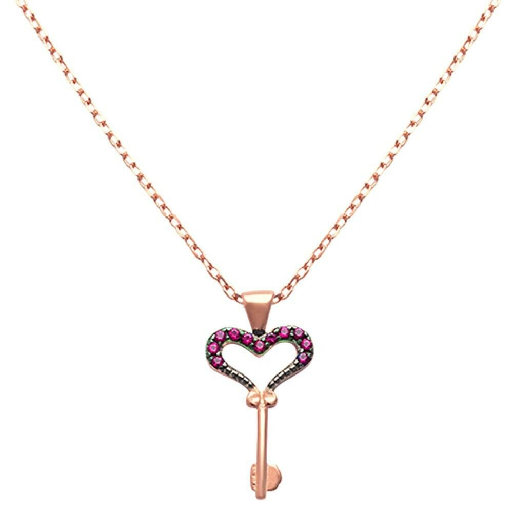 Rose Gold Plated Ruby Heart Key 925 Sterling Silver
