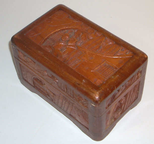 Vintage 6 Hand Carved Dovetailed Asian Wooden Box EBay